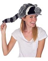 Rittle Furry Raccoon Animal Hat, Realistic Plush Costume Headwear - One Size