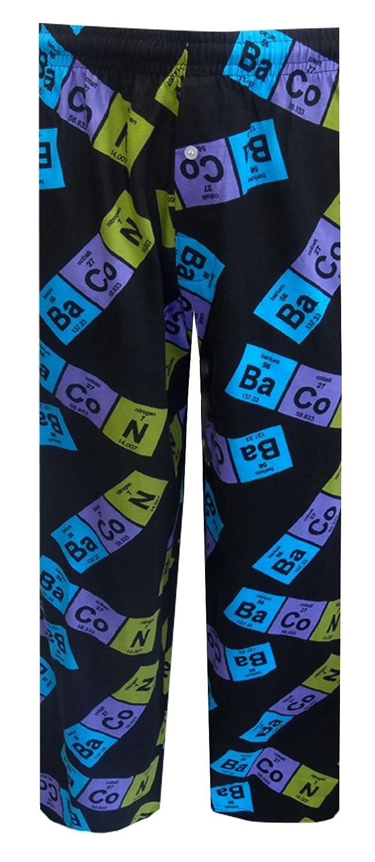 Fun Boxers Mens Bacon Periodic Table Sleepwear Loungewear Pants (Black) FBLP109