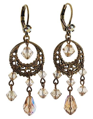 6296002a7 Liz Palacios Antiqued Brass Filigree Hoop Dangle Chandelier Crystal Earrings,  BDE-25 Golden Shadow: Liz Palacios: Amazon.co.uk: Jewellery