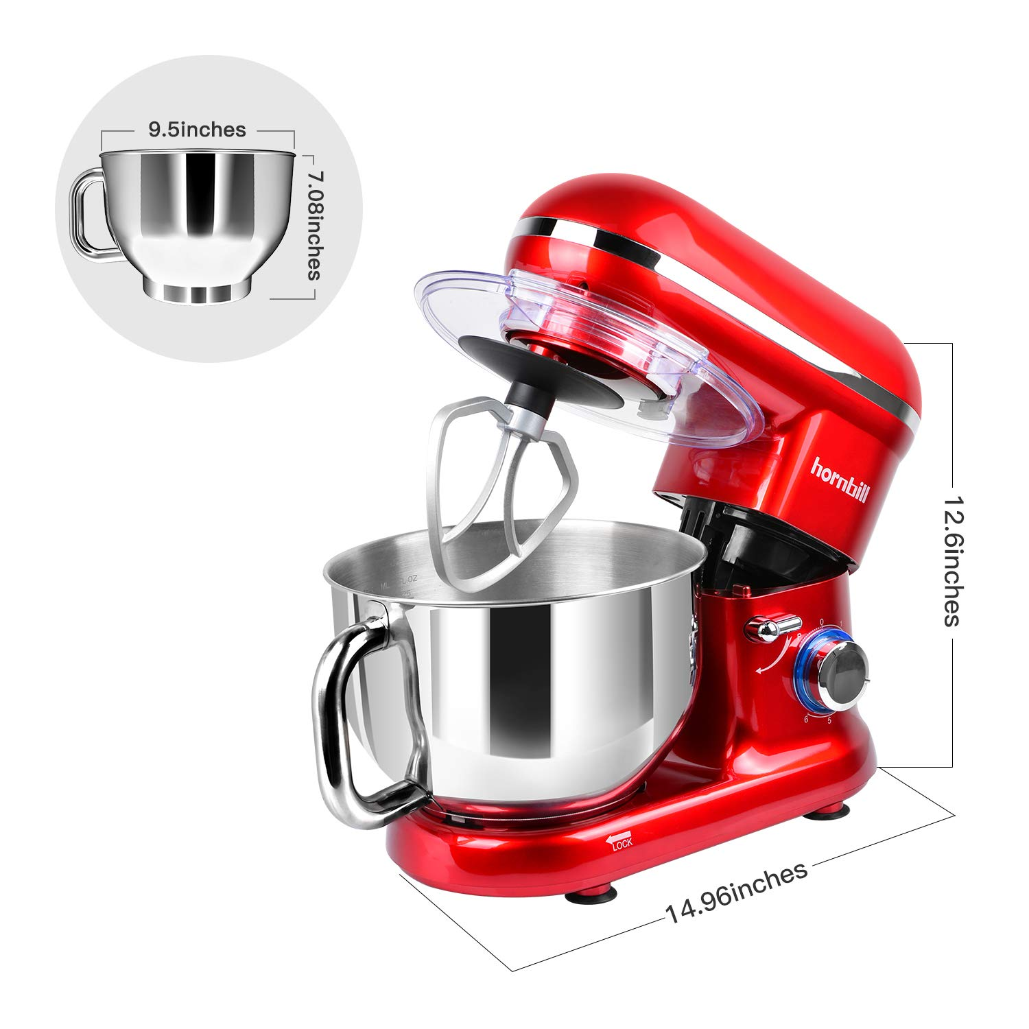 Hornbill Tilt-head Stand Mixer, Electric Mixer 600W 6-Speed 5-Quart Stainless Steel Bowl Professional Kitchen Mixer With Dough Hook, Whisk, Beater(Red) by Hornbill (Image #2)