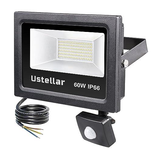 Ustellar LED 60W Motion Sensor Light, Super Bright 4800lm PIR Floodlight, 300 Halogen Bulb Equivalent, Outdoor Security Lights, IP66 Waterproof LED Flood Light for Garage Basement, 5000K Daylight White