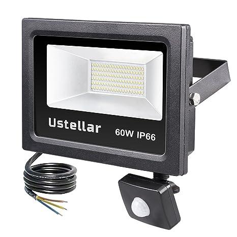 Ustellar 60W Foco LED Proyector con Sensor Movimiento, Luces Seguridad 4800LM Proyector LED Exterior IP66