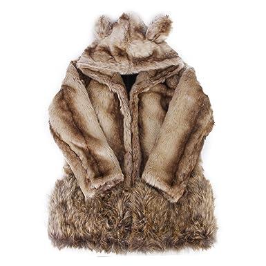 Muy Dulce Corea estilo mujeres Faux pelo oso abrigo chaqueta con orejas cola G300 Café: Amazon.es: Ropa y accesorios