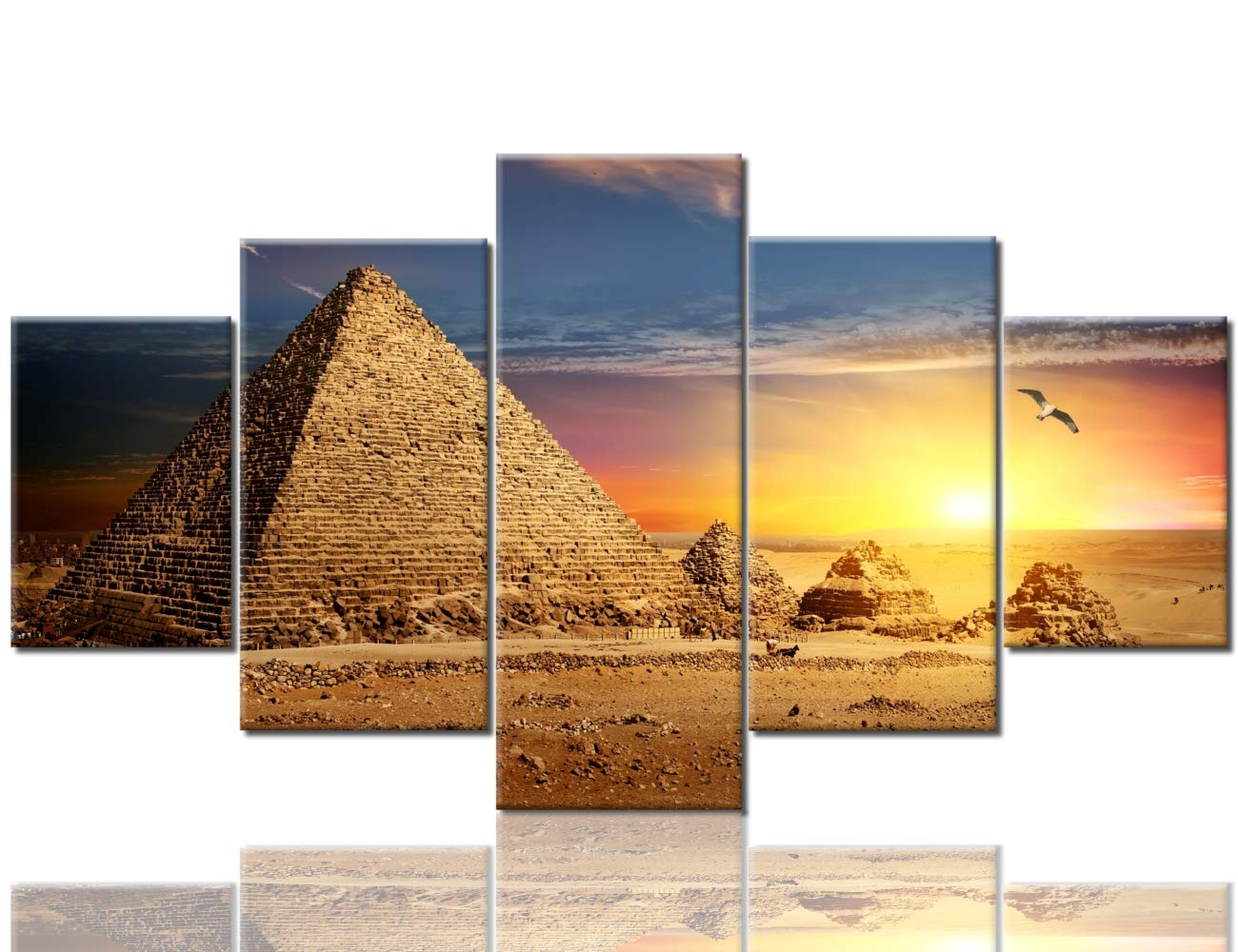 Artwork-10 60''Wx32''H Bedroom Pictures Wall Decor Ancient Pyramid Paintings African Desert Camel Modern Artwork Multi Panel Prints Wall Art on Canvas House Decorations Giclee Framed Stretched Ready to Hang(60''Wx32''H)