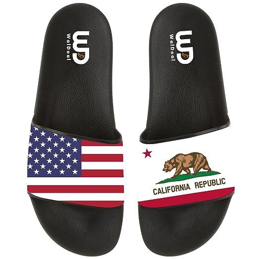 American Flag California Bear Summer Non-slip Slide Sandals Shoes Beach Swim Flip Flops Slipper Women Men