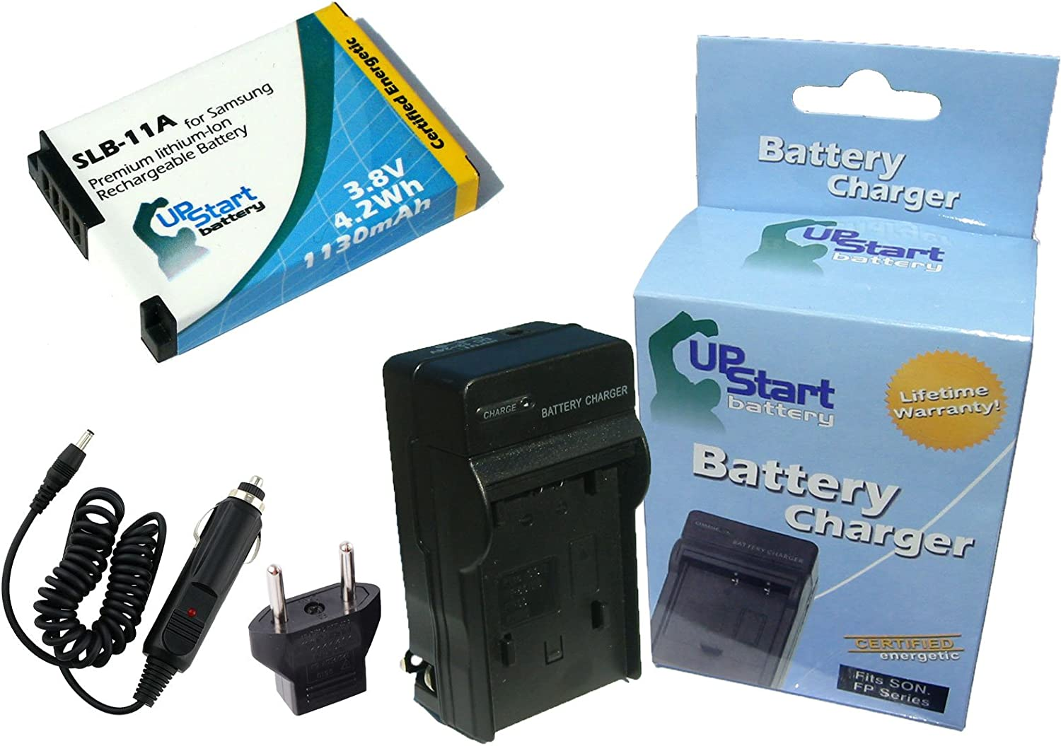 Compatible with Samsung SLB-11A Digital Camera Batteries and Chargers 1130mAh 3.8V Lithium-Ion Replacement for Samsung HZ50W Battery and Charger with Car Plug and EU Adapter