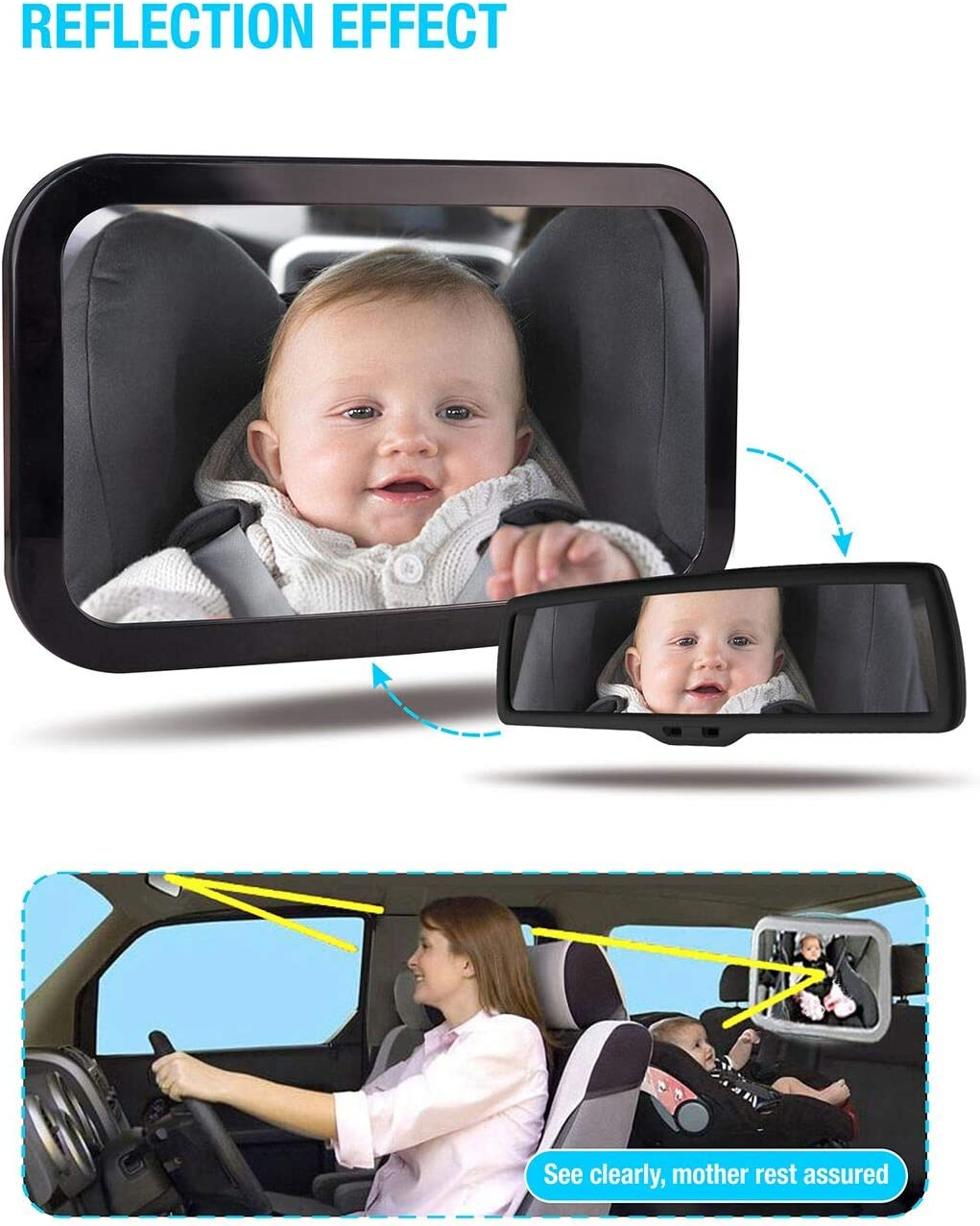 AOLEAD Car Mirror for Baby Wide Angel View 360/°Rotation Safe Shatterproof Baby Car Mirror for Rear Seat Facing Infant with Two Blind Spot Mirrors