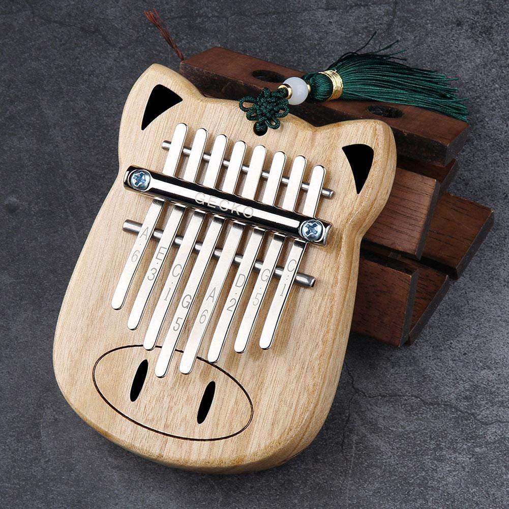 8 Key Kalimba African Finger Thumb Piano, Full Veneer Camphor Wooden Keyboard Percussion Instrument, Music Gift for Beginner