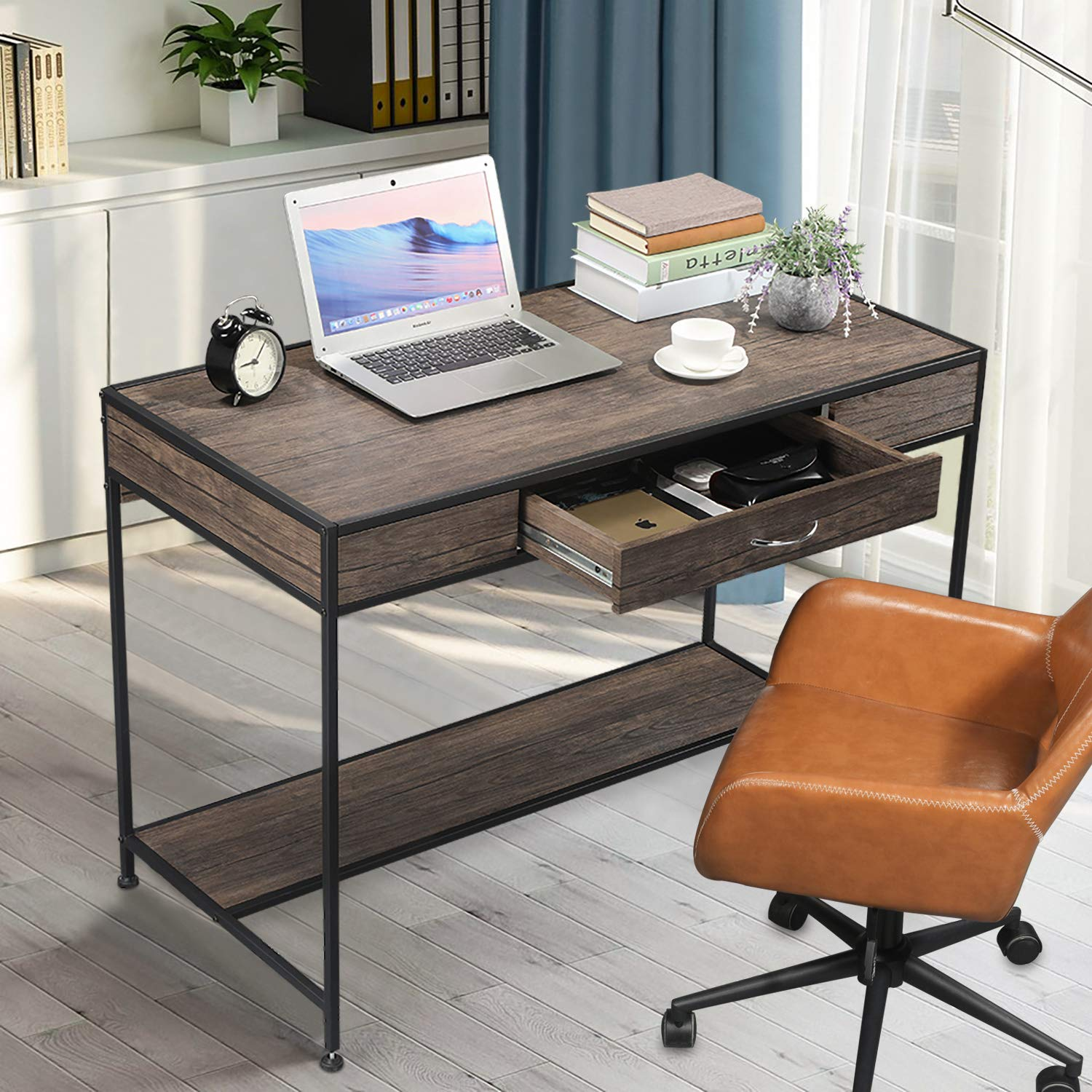 Aingoo Computer Writing Desk with Drawers,Home Office Rustic Metal MDF Wood Mid Century Large PC Table for Brown Farmhouse (Brown) by Aingoo (Image #4)