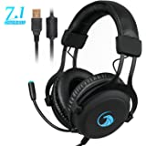 NPET S018 Pro 7.1 Chroma Gaming Headphone with Sound and USB Gaming Headset Noise Cancelling Over Ear Headphones with 360° Retractable Digital Hi-Fi Microphone and Chroma Lighting