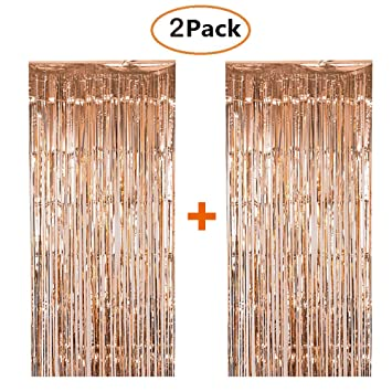 shiny metallic foil fringe curtain rose gold shimmer curtains door window curtain party decoration champagne