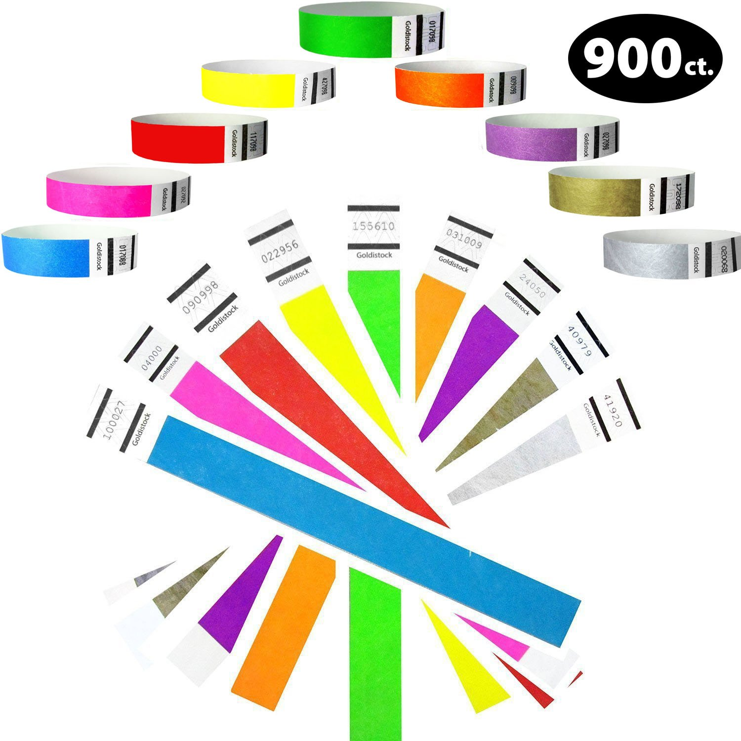 Goldistock 3/4'' Tyvek Wristbands Super Variety Pack 900 Ct. (100 Each): Green, Blue, Red, Orange, Yellow, Pink, Purple, Gold & Silver - 9 Most Popular Colors