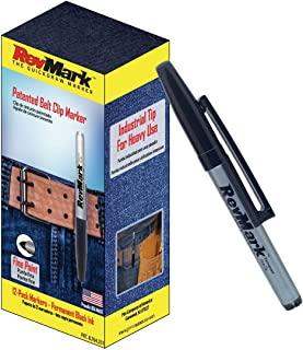 product image for RevMark Industrial Permanent Marker with Patented Holster Cap, Fine Point, Black Ink, 12Pack, Made in the USA