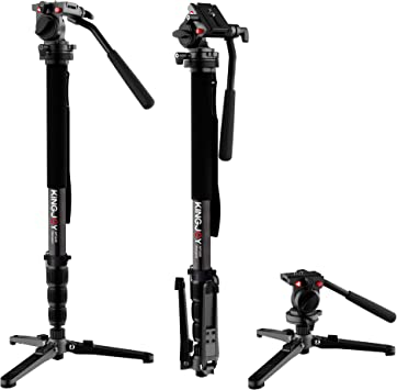 KINGJOY Professional Camera Monopod Kit 69 inch Aluminum Video Monopods with Pan Tilt Fluid Head and Removable Tripod Feet for DSLR Camcorders MP3008F+VT-1510