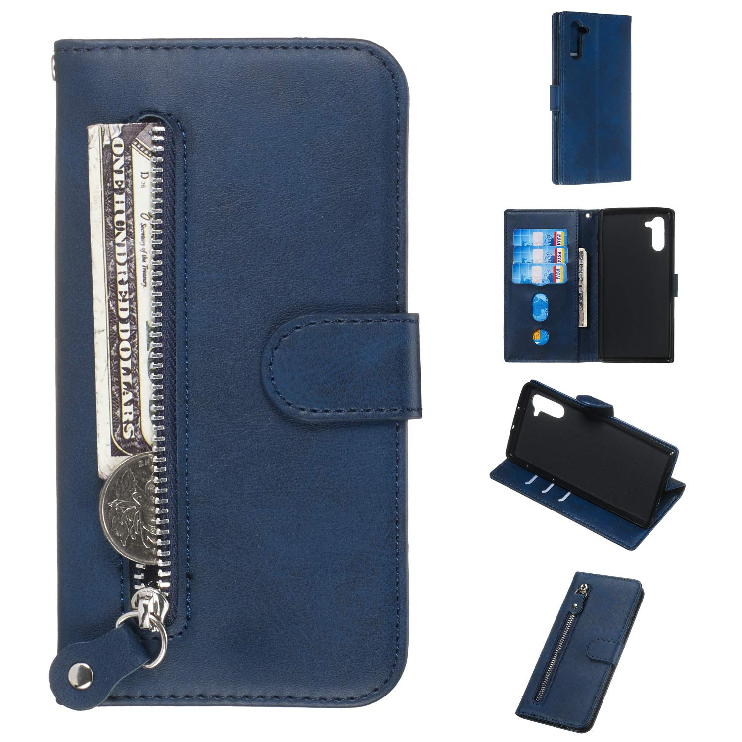 DAMONDY for Galaxy Note10 5G Case,Zipper Stand Wallet Purse Card Slot ID Holders Design Folio Flip Leather Cover Pocket Purse Magnetic Protective for Samsung Galaxy Note 10 Note10 5G 2019-Blue by DAMONDY