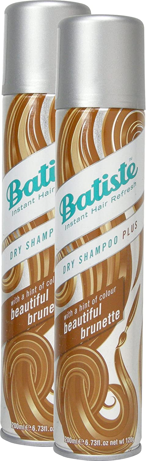 Batiste Dry Shampoo Beautiful Brunette With A Hint Of Color For Go Wrong, Fresh Hair Dry Shampoo for All Hair Types 200 ml (Pack of 2) Church & Dwight UK