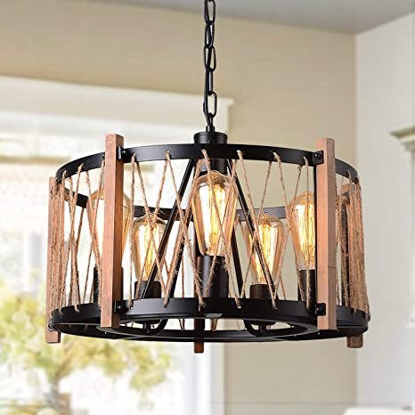 Oil Rubbed Bronze Chandelier with Metal and Crystal Lampshades 4-Light Dining Room Lighting Fixtures Hanging Farmhouse Island Lights for Kitchen