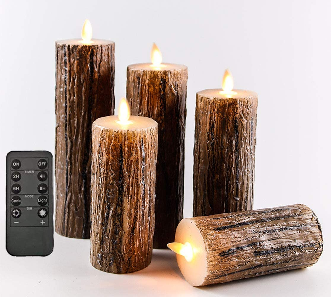 Flameless Candles Flickering Candles Decorative Battery Flameless Candle Classic Real Wax Pillar with Dancing LED Flame & 10-Key Remote Control 2/4/6/8 Hours Timers (Birch Effect),Set of 5