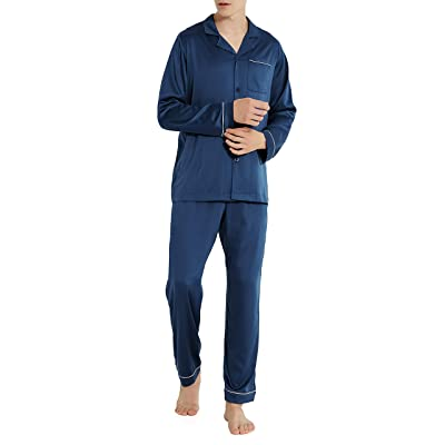 DAVID ARCHY Men's Satin Silky Sleepwear Pajamas Set Button-Down Long Loungewear at Amazon Men's Clothing store