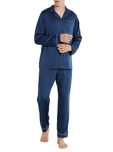 Genuwin Hombre Pijama de 2 Piezas Conjunto de Pijama de Satén para Hombre, Satén Satin