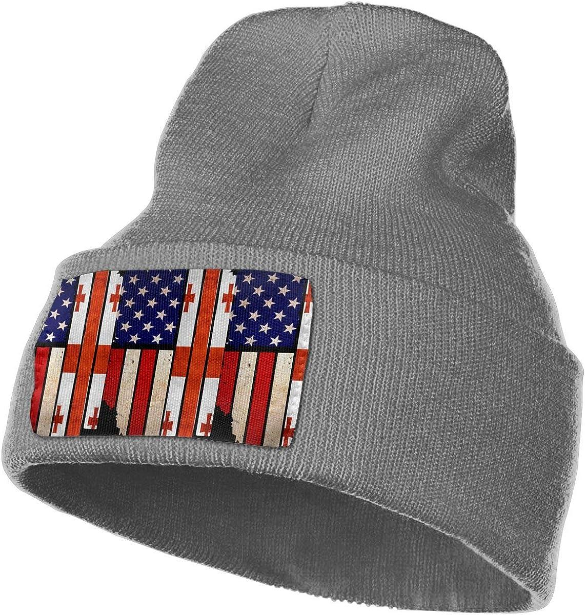 100/% Acrylic Beanie Hat Vintage USA Georgia Flag Warm Knitting Hat Mens Womens