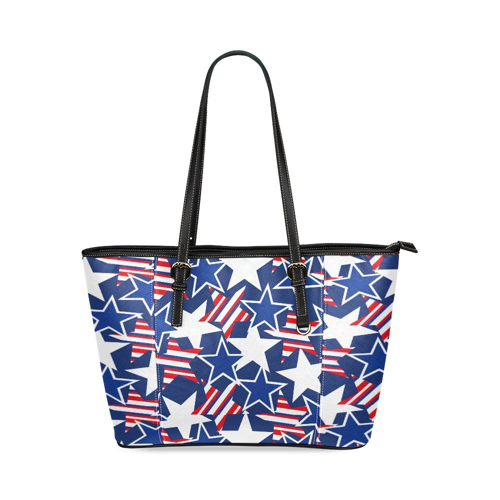 New Fashion USA Stars And Stripes Pattern Womens PU Leather Large Capacity Classic Shoulder Bags Tote Handbag PTB-61