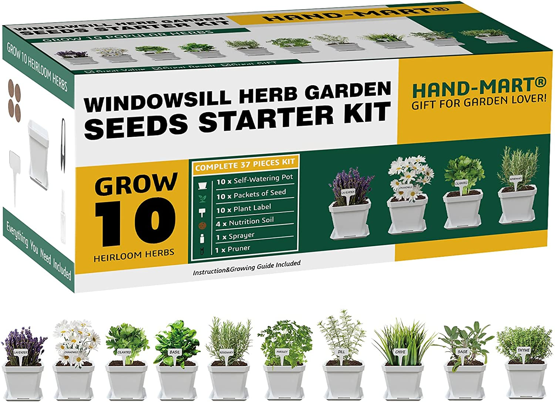 Hand-Mart 10 Herb Window Garden Complete Grow Kit Includes Everything-Seeds,White Pots,Soil,Tools,Sprayer,Labels,Pruner - Indoor/Kitchen Windowsill Seeds Starter Kit-Gardening DIY Gift for Women & Men