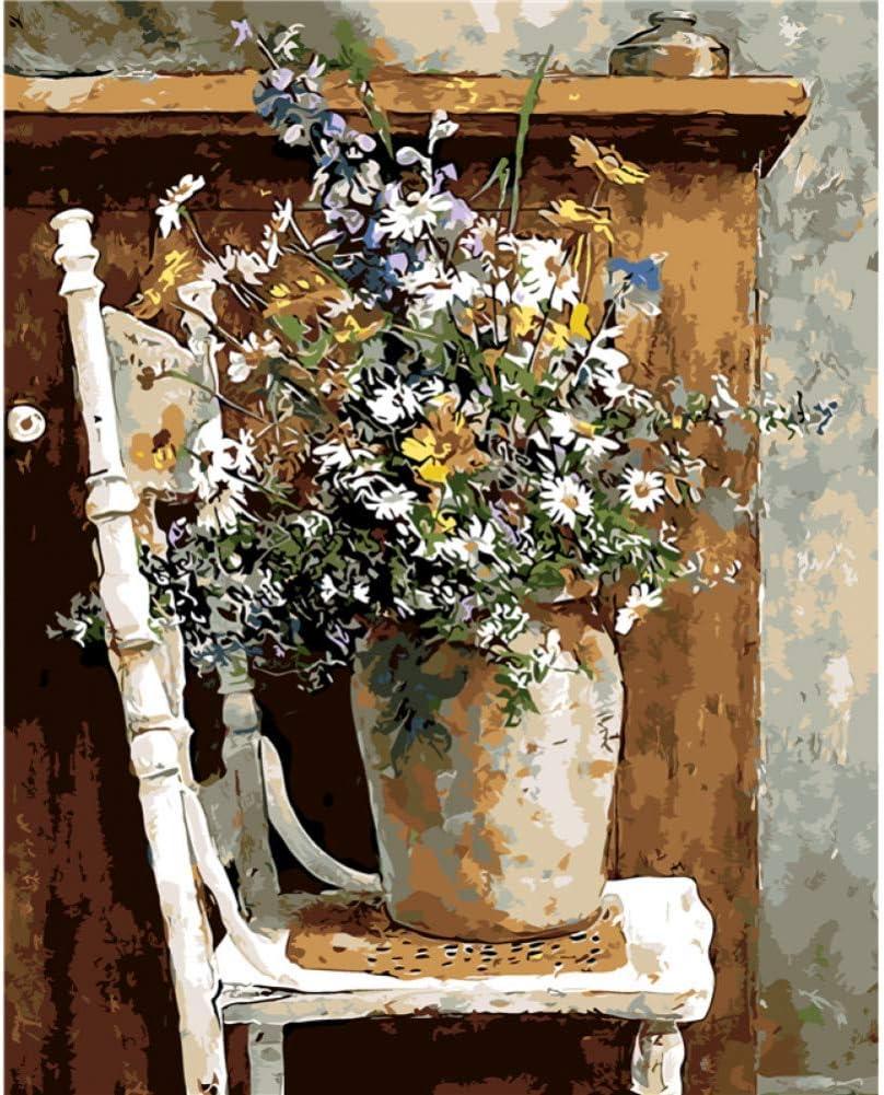 JFASJ DIY Pintura al óleo por Numeros Decoración de Pared Cuadros Pintura por números Pintado a Mano sobre Lienzo Decoración Pintura Bodegón Flor Lienzo Pintura