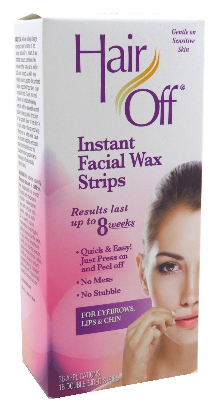 Hair Off Facial Instant Wax Strips 18 Sets (2 Pack)
