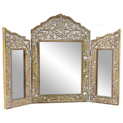 Indian Heritage-Wooden Mirror 10x15\