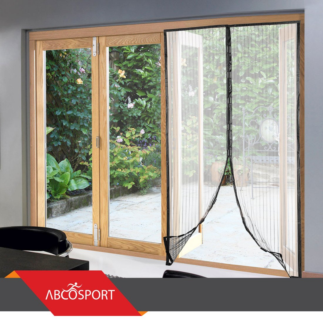 magnetic screen door keeps the fresh air in and the bugs out mesh comes with velcro or pins closes with the 18 powerful magnets fits