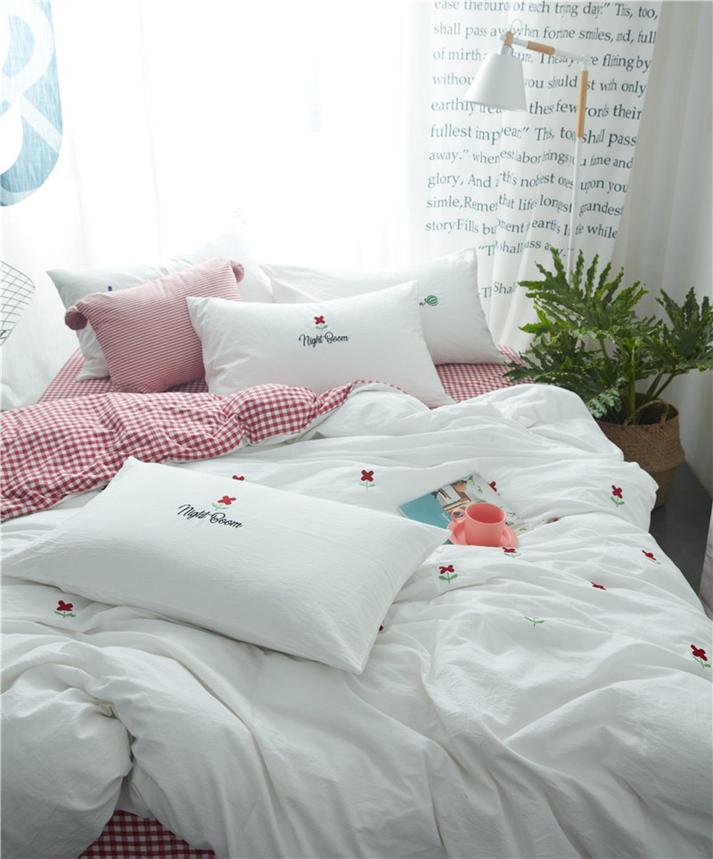 HIGHBUY Soft Cotton Embroidery Floral Twin Duvet Cover Sets White for Women Girls Reversible Red Geometric Grid Kids Bedding Sets Twin Children Single Bed Comforter Cover with Zipper Closure,Twin by HIGHBUY (Image #4)