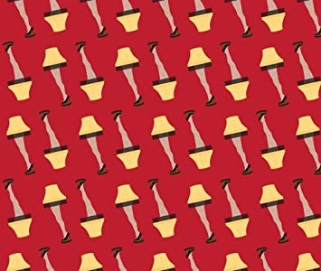 gingerbread man fabric christmas retro leg lamp on red by khaus printed on fleece fabric by