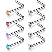 MODRSA 18G 20G 22G 8pcs Surgical Steel Nose Rings Studs 2mm Colorful Round CZ L Shaped Nose Piercing Jewelry