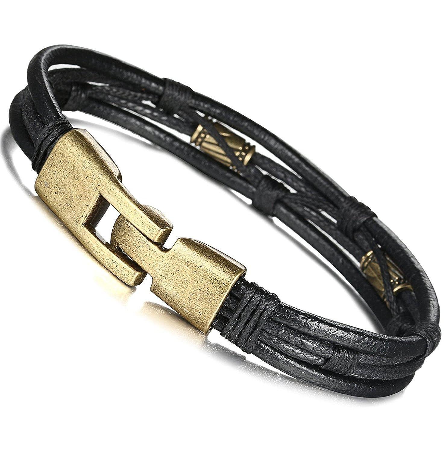 21.5cm sailimue Bracelet Cuir Tricot pour Homme Bracelet Tress/é Vintage