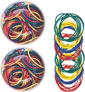 Faxco 100g (About 290 Pieces) Colorful Small Rubber Bands,Office Supply Stretchable Rubber Elastics Bands General Purpose Elastic Stretchable Bands