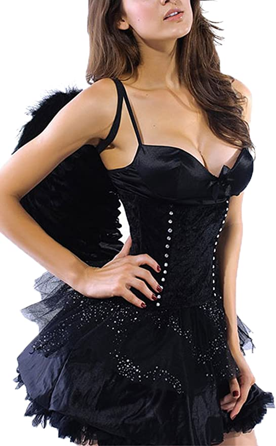 R-dessous - Vestido de lencería, ángel negro + alas, disfraz para ...