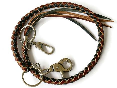 BrownBeans, estilo motero para hombre adolescentes trenzado cadena de piel tipo cordón llavero titular de