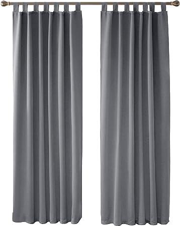 2x Thermovorhang Gardinen Ösen Schal blickdicht Verdunkelung Schwarz 175x135 cm