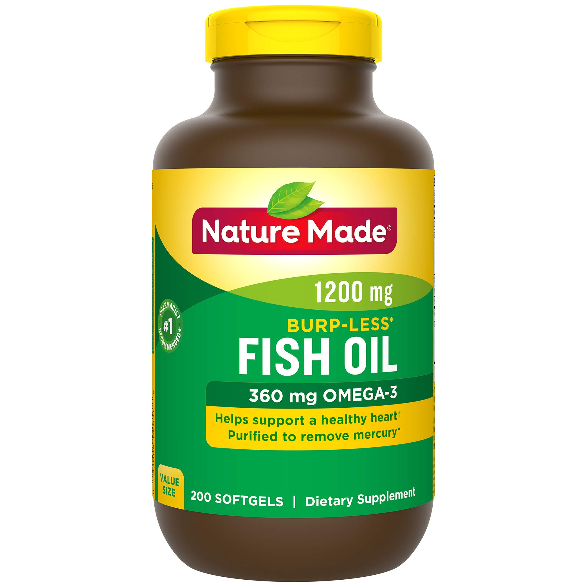 Nature Made Burp-Less Fish Oil 1,200 mg Softgels, 200 Count for Heart Health† (Packaging May Vary)