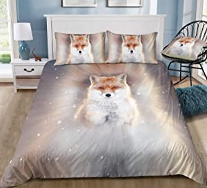 Felu Bedding Fox Duvet Cover Set, Brown White Holy Snow Fox Pattern Comforter Cover Set with 1 Duvet Cover and 2 Pillowcases (Queen Size)