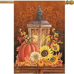 "Briarwood Lane Fall Lantern Primitive House Flag Pumpkins Sunflowers 28"" x 40"""