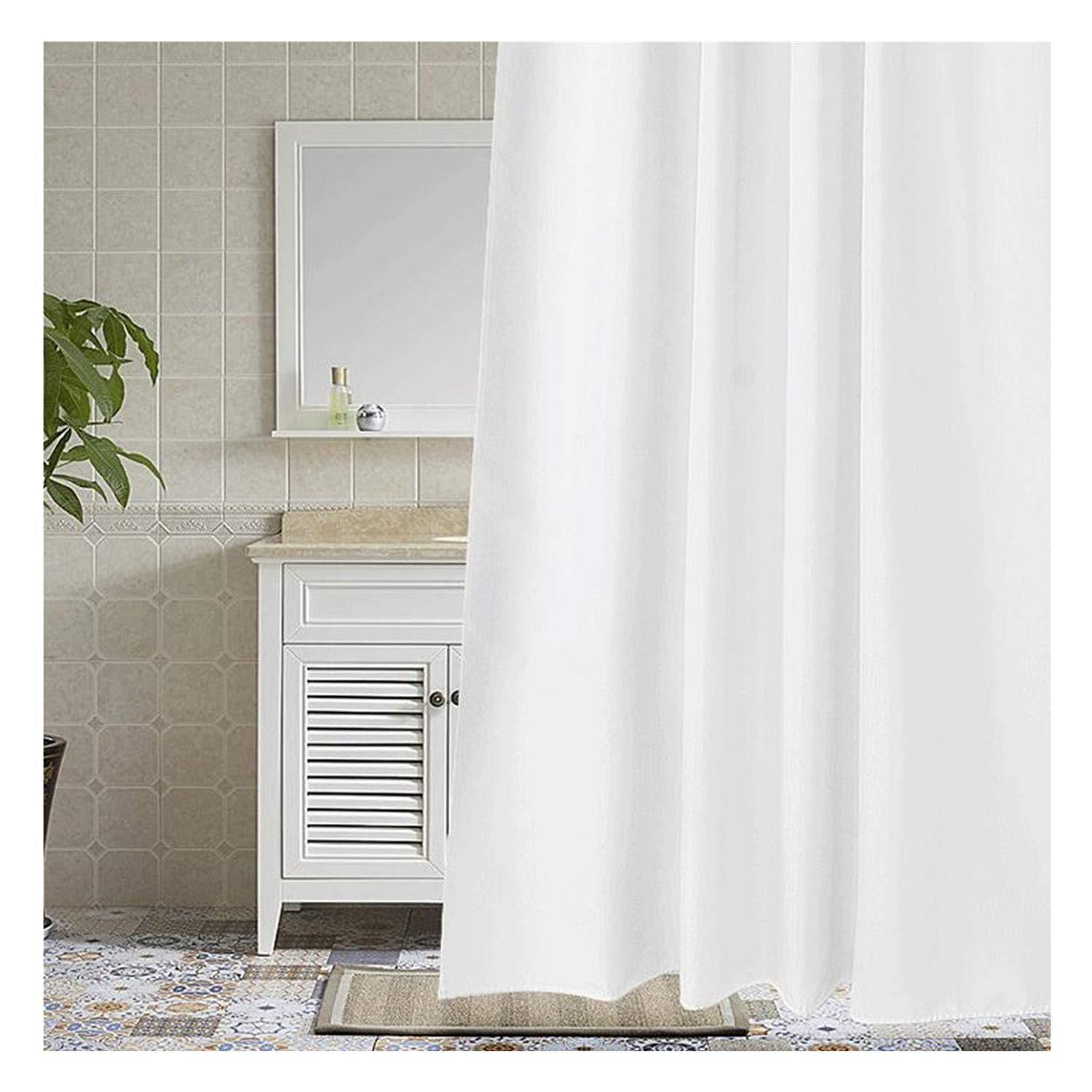 Cryseam 72x 72 Inch Hotel Fabric Shower Curtain Waterproof and Mildew Free Bath Curtains Heavy Weight