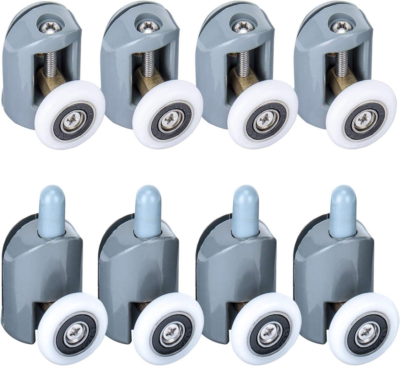 LESOLEIL Nylon Acero inoxidable ABS Cabina de ducha de plástico Cabinas de ducha Rodillos de repuesto 8 piezas 25mm