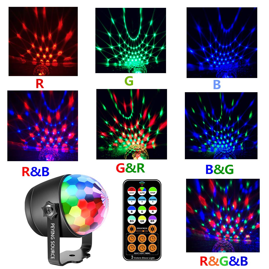 Disco Ball Party Lights Stage Crystal Lamp Projector RGB Patterns with Remote for Holidays, Home Party,Bar,DJ,KTV,Birthday (RGB)