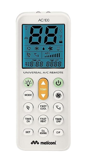 Meliconi Ac 100 Telecomando Universale Per Condizionatori Climatizzatori Compatibile Con La Maggior Parte Dei Marchi Con Schermo Retroilluminato E