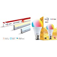 Wipro Next 20W Smart LED Batten (Compatible with Amazon Alexa & Google Assistant) & WiFi Enabled Smart LED Bulb B22 9-Watt (16 Million Colors + Shades of White) (Compatible with Combo