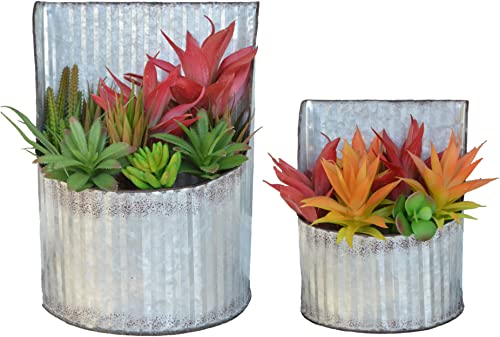 ShabbyDecor Galvanized Corrugated Metal Wall Pocket Storage for Country Farmhouse D cor, Greenery Planter Set of 2
