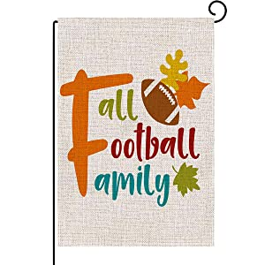 Garden Flag Football and Fall Farmhouse Autumn Thanksgiving Burlap House Yard Pumpkin Patch Farm Market Flag Garden Outdoor Halloween Decorations