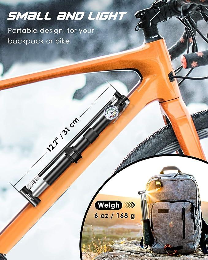 ACACIA Mini Bike Pump Portable Bicycle Pump with Pressure Gauge 130 PSI and S...